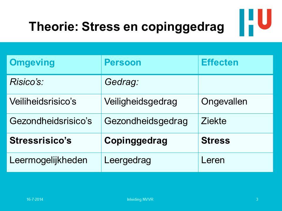 Theorie: Stress en copinggedrag OmgevingPersoonEffecten Risico's:Gedrag: Veiliheidsrisico'sVeiligheidsgedragOngevallen Gezondheidsrisico'sGezondheidsgedragZiekte Stressrisico'sCopinggedragStress LeermogelijkhedenLeergedragLeren 16-7-20143Inleiding NVVR