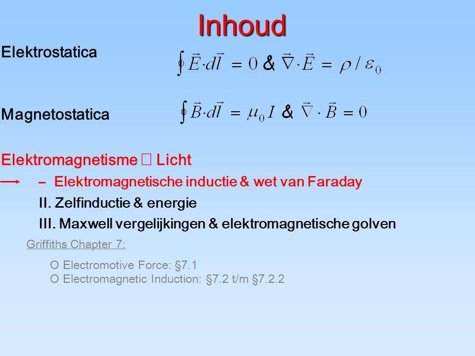 Inhoud Elektrostatica Magnetostatica Elektromagnetisme  Licht –Elektromagnetische inductie & wet van Faraday II.