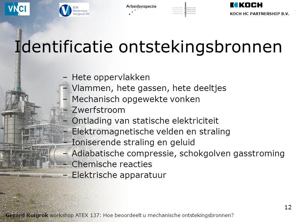 KOCH HC PARTNERSHIP B.V. Gerard Ruigrok workshop ATEX 137: Hoe beoordeelt u mechanische ontstekingsbronnen? 12 –Hete oppervlakken –Vlammen, hete gasse