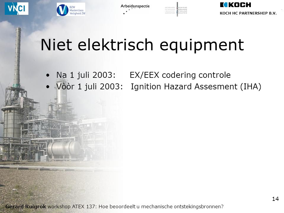 KOCH HC PARTNERSHIP B.V. Gerard Ruigrok workshop ATEX 137: Hoe beoordeelt u mechanische ontstekingsbronnen? 14 Na 1 juli 2003: EX/EEX codering control