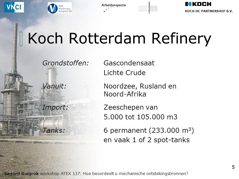 KOCH HC PARTNERSHIP B.V. Gerard Ruigrok workshop ATEX 137: Hoe beoordeelt u mechanische ontstekingsbronnen? 5 Koch Rotterdam Refinery Grondstoffen:Gas