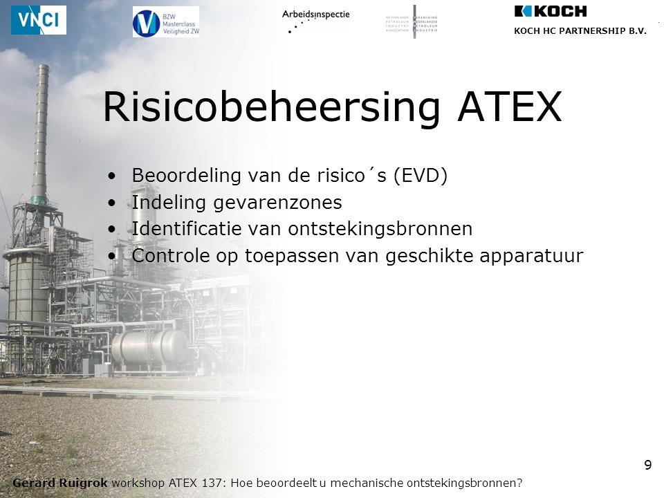 KOCH HC PARTNERSHIP B.V. Gerard Ruigrok workshop ATEX 137: Hoe beoordeelt u mechanische ontstekingsbronnen? 9 Beoordeling van de risico´s (EVD) Indeli