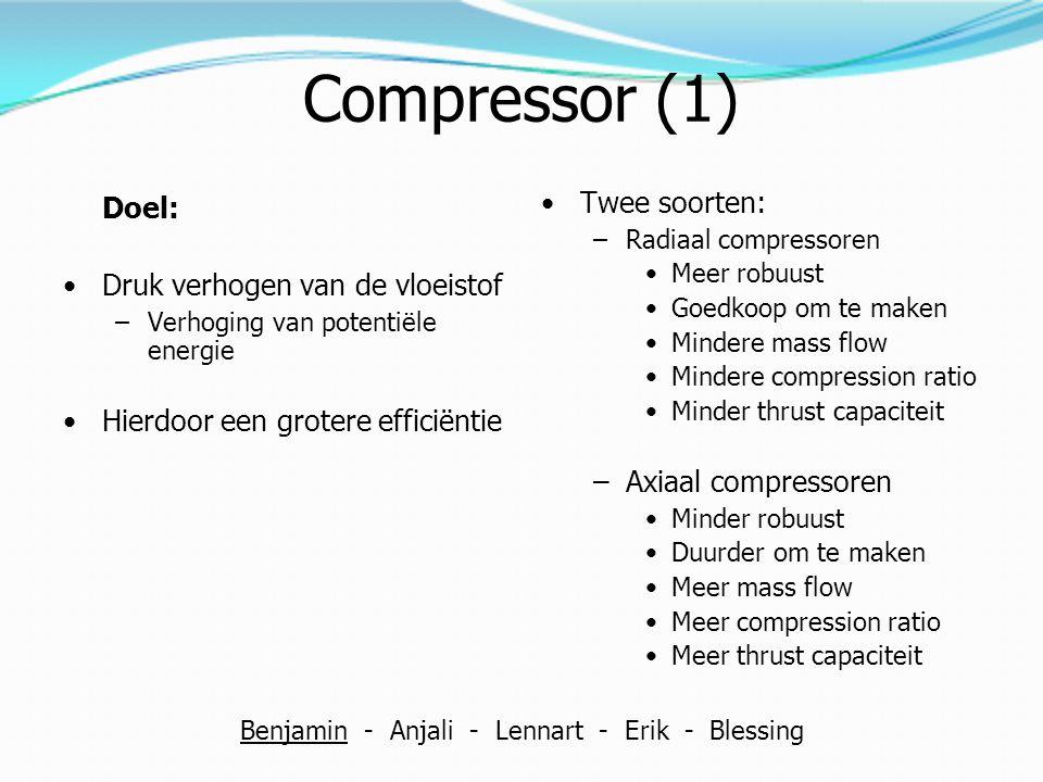 Compressor (1) Doel: Druk verhogen van de vloeistof –Verhoging van potentiële energie Hierdoor een grotere efficiëntie Twee soorten: –Radiaal compress