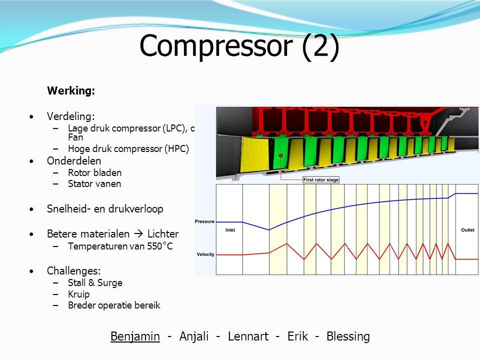 Compressor (2) Werking: Verdeling: –Lage druk compressor (LPC), ofwel; Fan –Hoge druk compressor (HPC) Onderdelen –Rotor bladen –Stator vanen Snelheid
