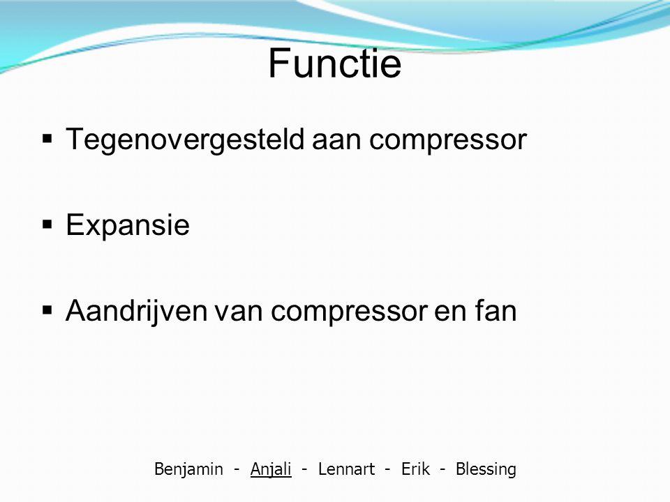 Functie  Tegenovergesteld aan compressor  Expansie  Aandrijven van compressor en fan Benjamin - Anjali - Lennart - Erik - Blessing