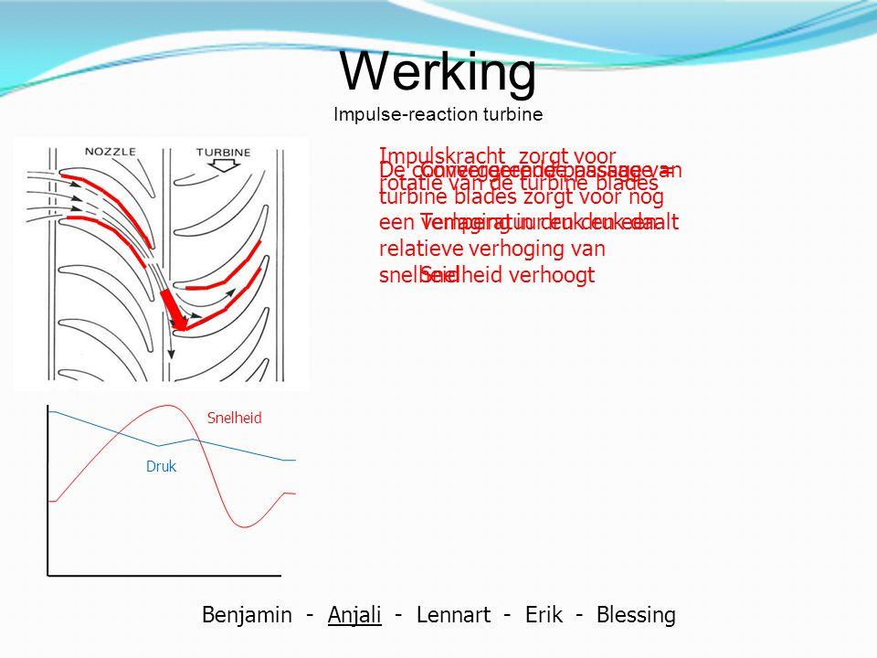 Werking Impulse-reaction turbine Convergerende passage = Temperatuur en druk daalt Snelheid verhoogt Druk Snelheid Impulskracht zorgt voor rotatie van