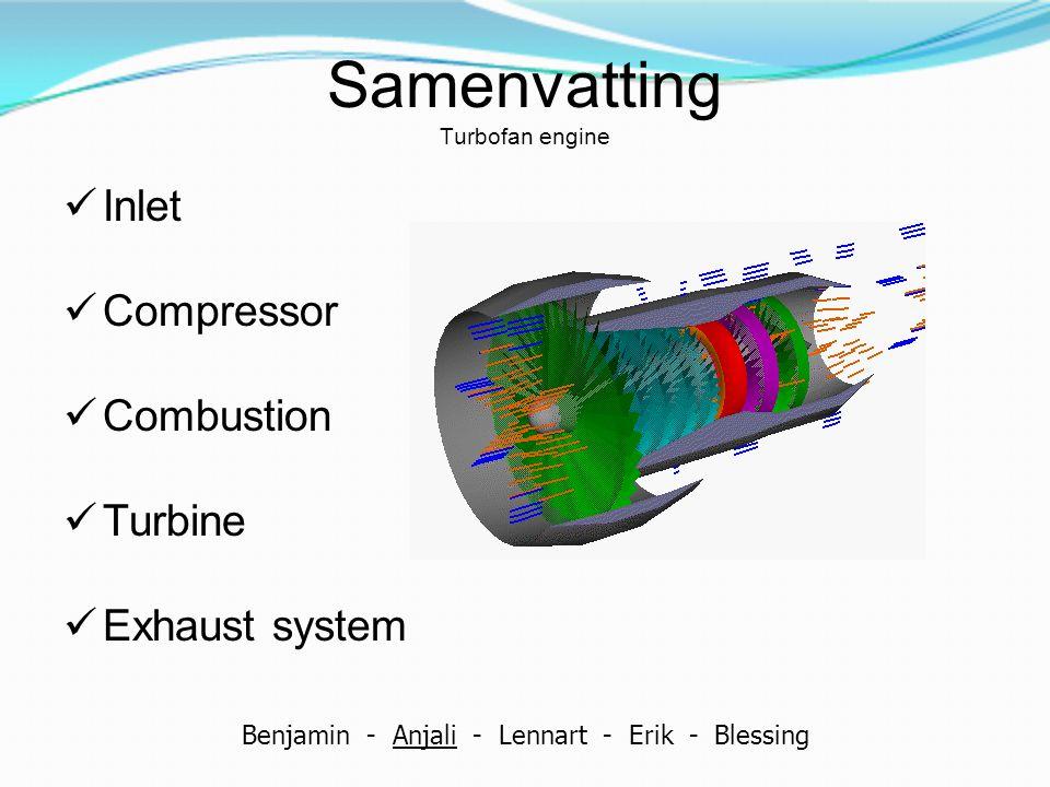 Samenvatting Turbofan engine Inlet Compressor Combustion Turbine Exhaust system Benjamin - Anjali - Lennart - Erik - Blessing