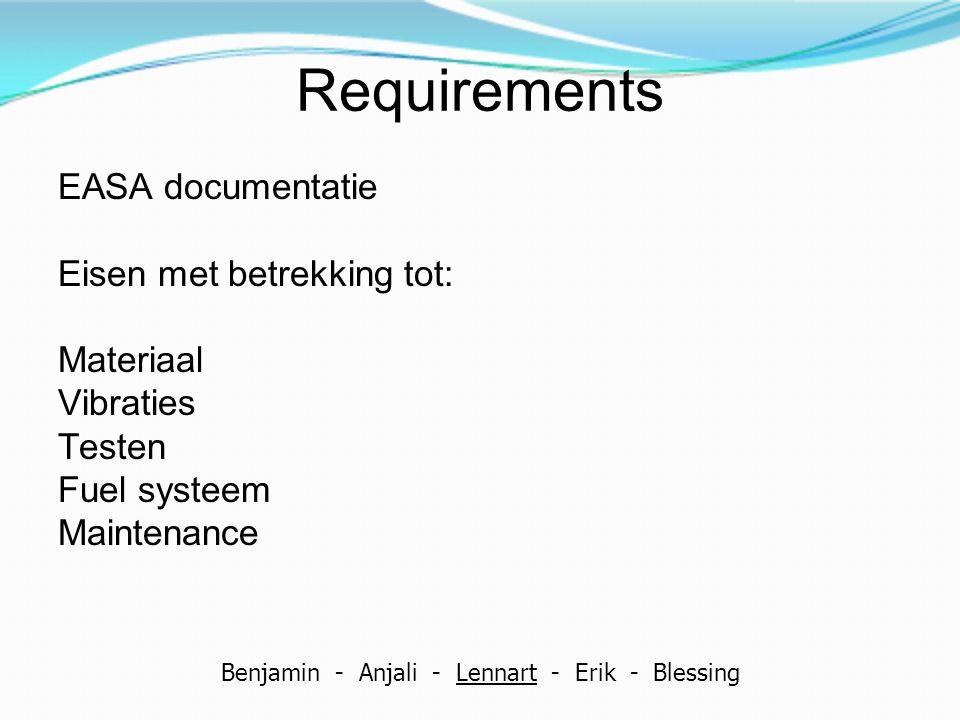 Requirements EASA documentatie Eisen met betrekking tot: Materiaal Vibraties Testen Fuel systeem Maintenance Benjamin - Anjali - Lennart - Erik - Bles