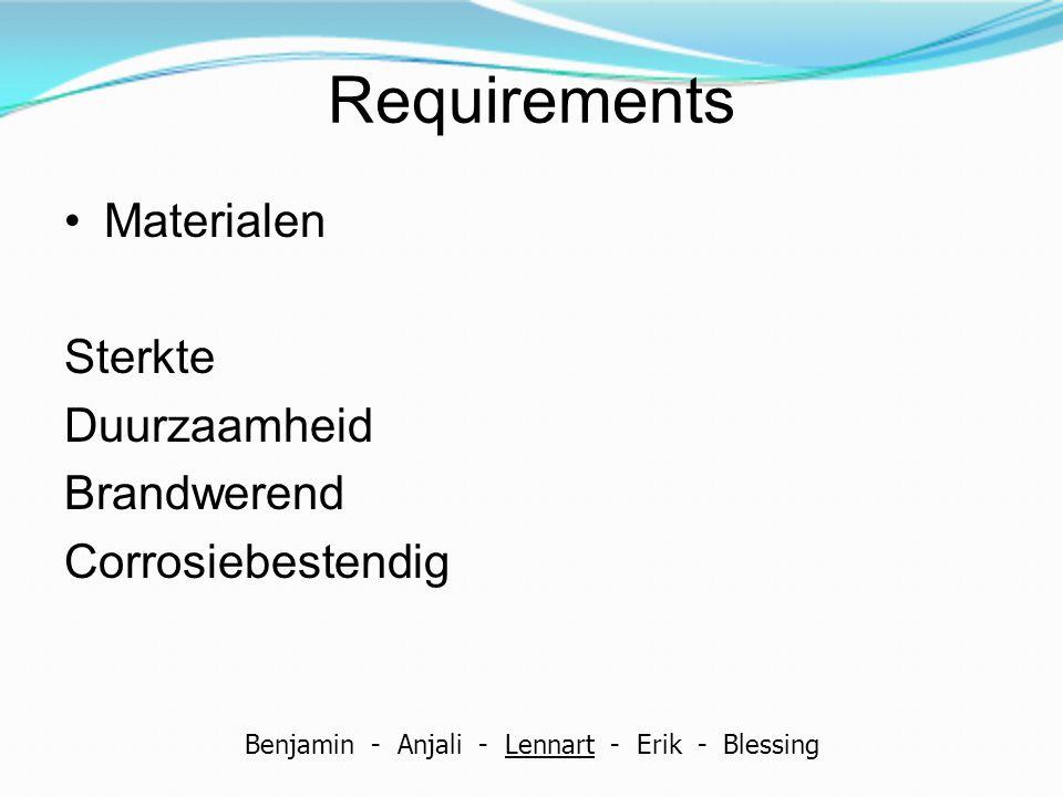 Requirements Materialen Sterkte Duurzaamheid Brandwerend Corrosiebestendig Benjamin - Anjali - Lennart - Erik - Blessing