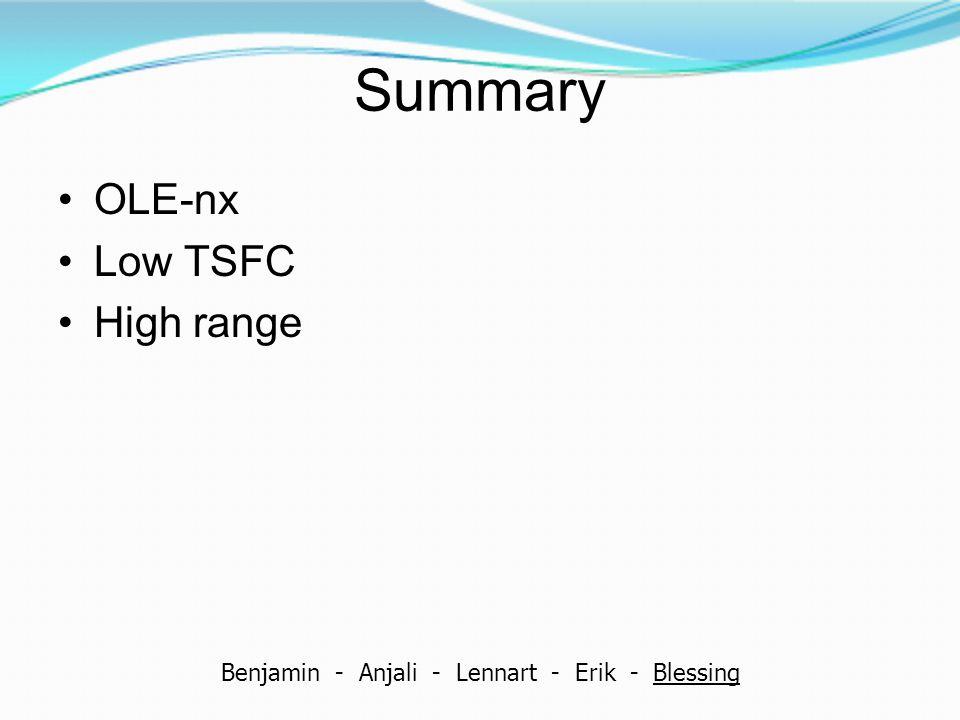 Summary OLE-nx Low TSFC High range Benjamin - Anjali - Lennart - Erik - Blessing