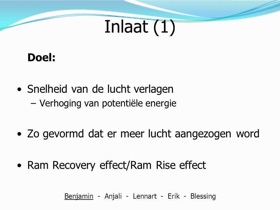 Inlaat (1) Doel: Snelheid van de lucht verlagen –Verhoging van potentiële energie Zo gevormd dat er meer lucht aangezogen word Ram Recovery effect/Ram