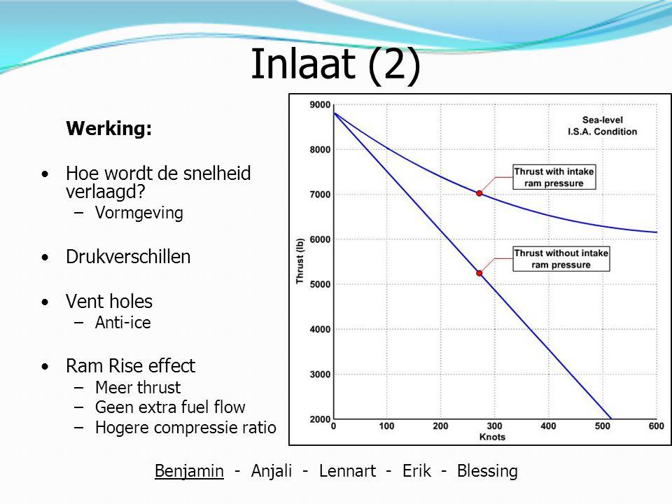 Werking Impulse-reaction turbine Convergerende passage = Temperatuur en druk daalt Snelheid verhoogt Druk Snelheid Impulskracht zorgt voor rotatie van de turbine blades De convergerende passage van turbine blades zorgt voor nog een verlaging in druk en een relatieve verhoging van snelheid Benjamin - Anjali - Lennart - Erik - Blessing