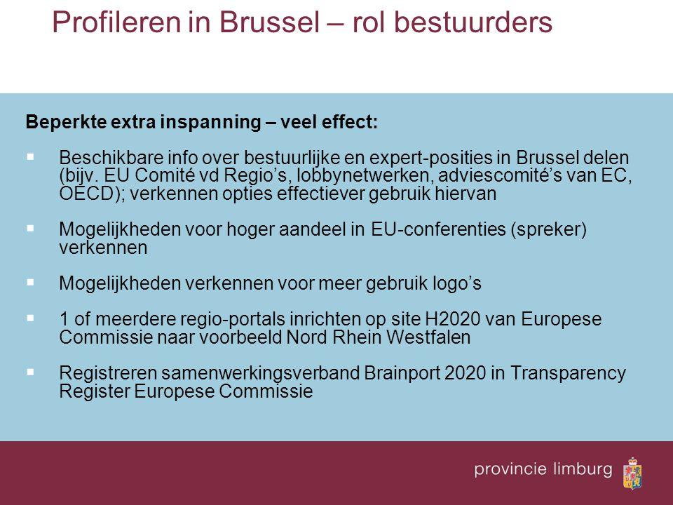 Profileren in Brussel – rol bestuurders Beperkte extra inspanning – veel effect:  Beschikbare info over bestuurlijke en expert-posities in Brussel de