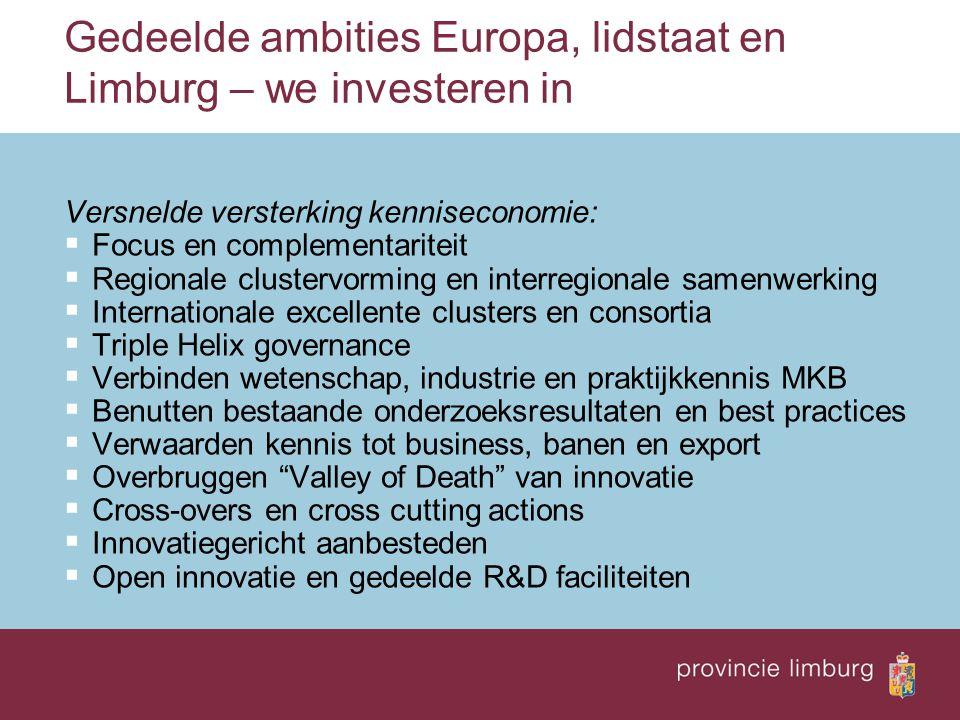 Gedeelde ambities Europa, lidstaat en Limburg – we investeren in Versnelde versterking kenniseconomie:  Focus en complementariteit  Regionale cluste