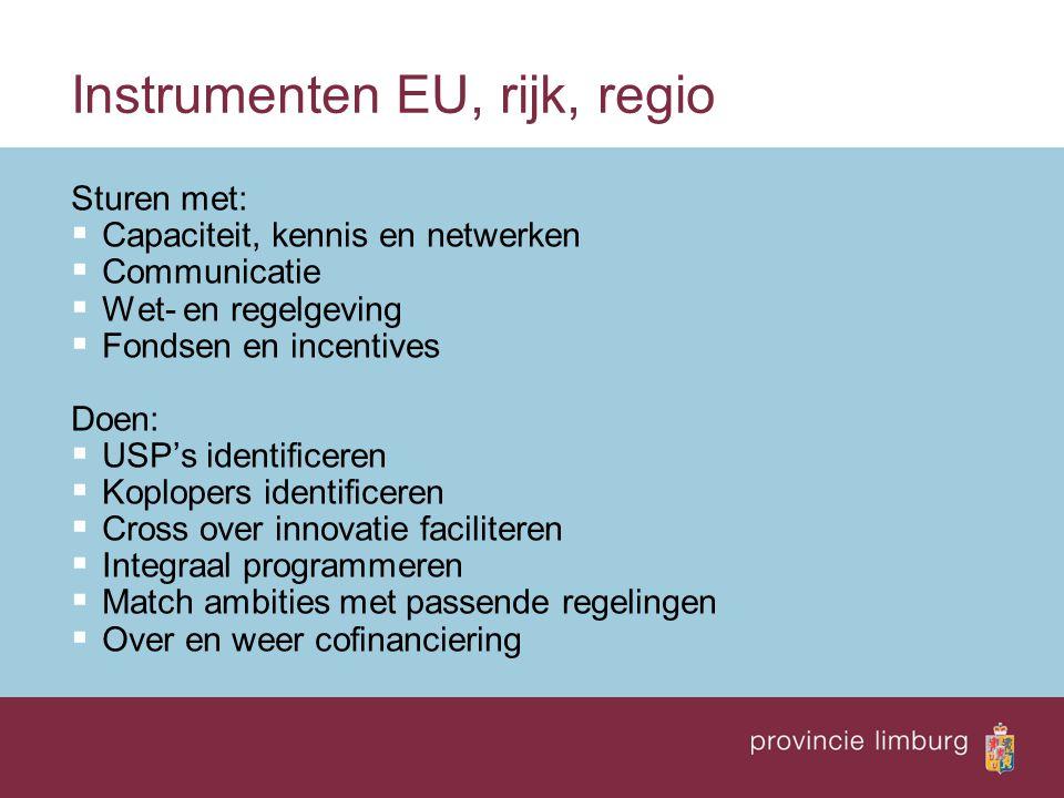 Instrumenten EU, rijk, regio Sturen met:  Capaciteit, kennis en netwerken  Communicatie  Wet- en regelgeving  Fondsen en incentives Doen:  USP's