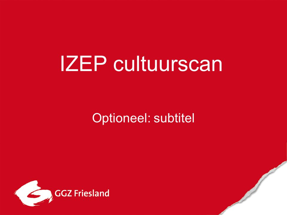 Optioneel: subtitel IZEP cultuurscan