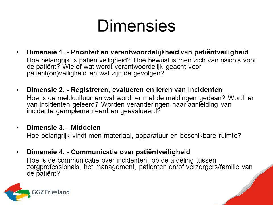 Dimensies Dimensie 1. - Prioriteit en verantwoordelijkheid van patiëntveiligheid Hoe belangrijk is patiëntveiligheid? Hoe bewust is men zich van risic