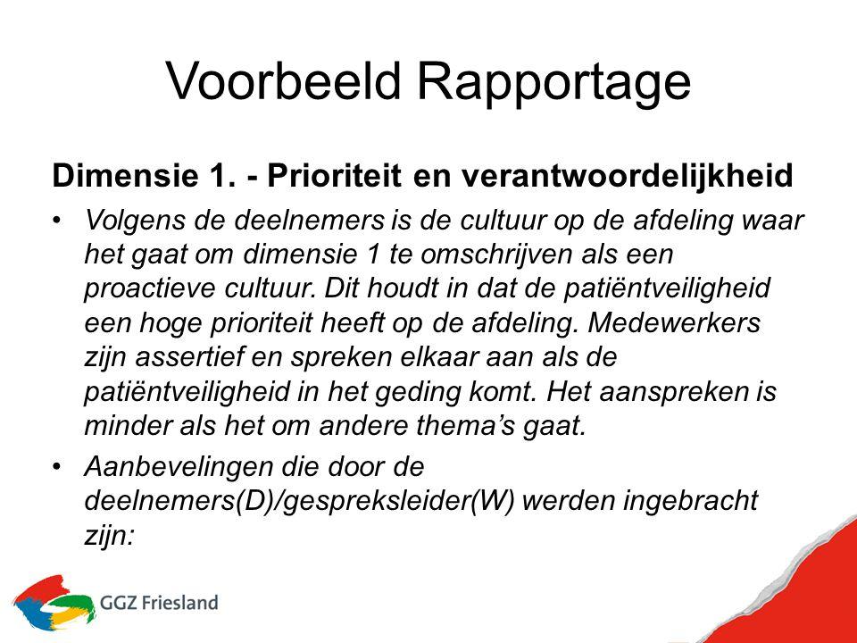 Voorbeeld Rapportage Dimensie 1. - Prioriteit en verantwoordelijkheid Volgens de deelnemers is de cultuur op de afdeling waar het gaat om dimensie 1 t