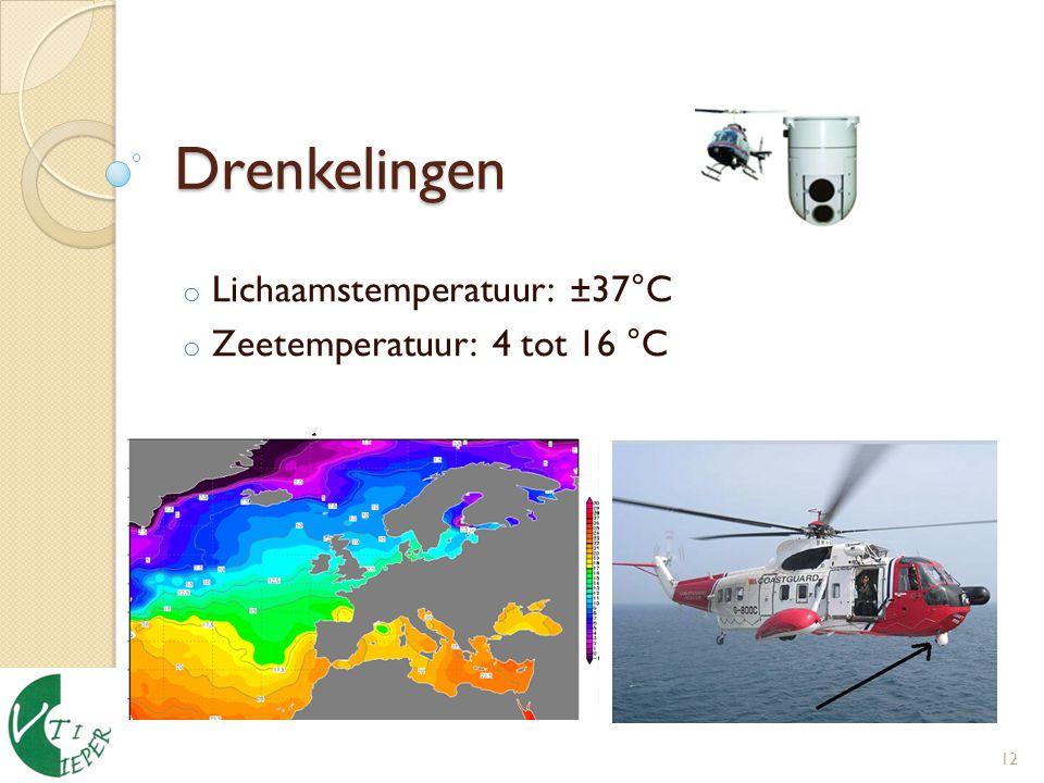 Drenkelingen o Lichaamstemperatuur: ±37°C o Zeetemperatuur: 4 tot 16 °C 12