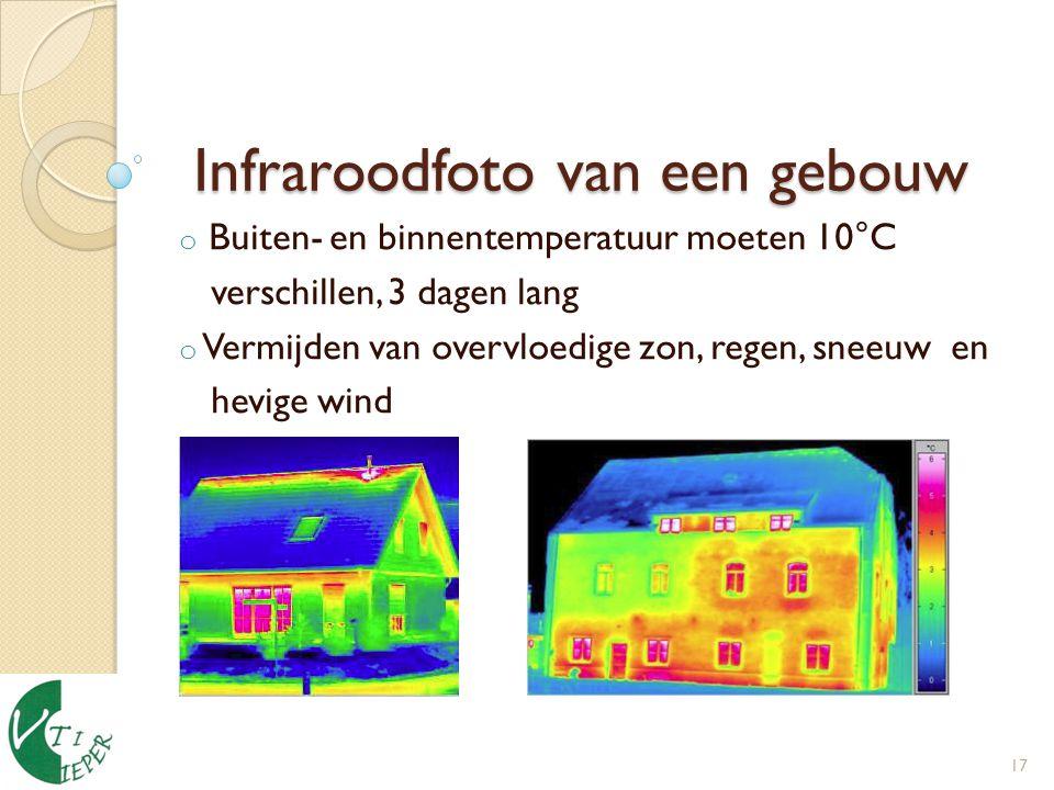 Infraroodfoto van een gebouw Infraroodfoto van een gebouw o Buiten- en binnentemperatuur moeten 10°C verschillen, 3 dagen lang o Vermijden van overvloedige zon, regen, sneeuw en hevige wind 17
