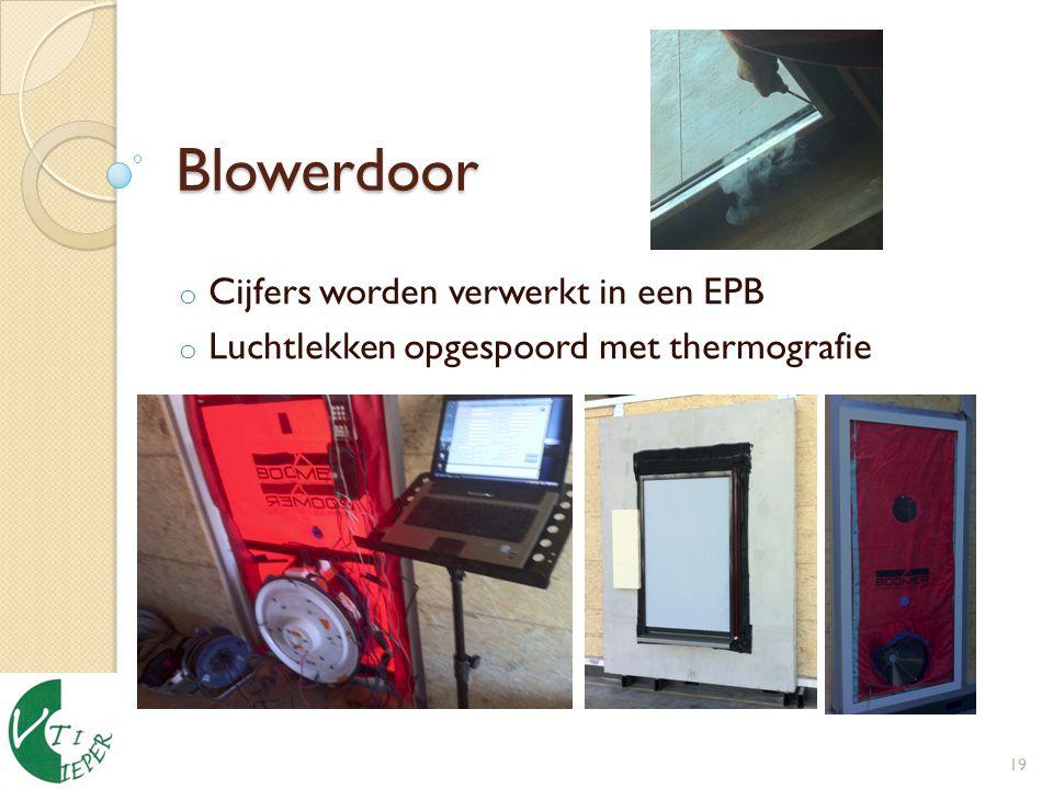 Blowerdoor o Cijfers worden verwerkt in een EPB o Luchtlekken opgespoord met thermografie 19