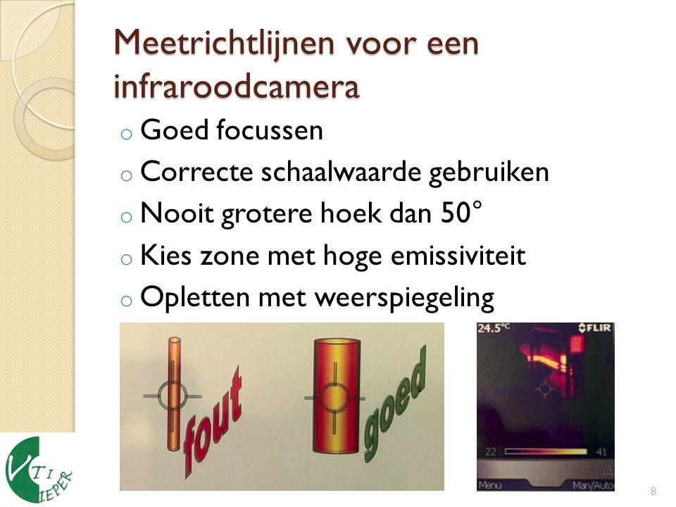 Meetrichtlijnen voor een infraroodcamera o Goed focussen o Correcte schaalwaarde gebruiken o Nooit grotere hoek dan 50° o Kies zone met hoge emissiviteit o Opletten met weerspiegeling 8