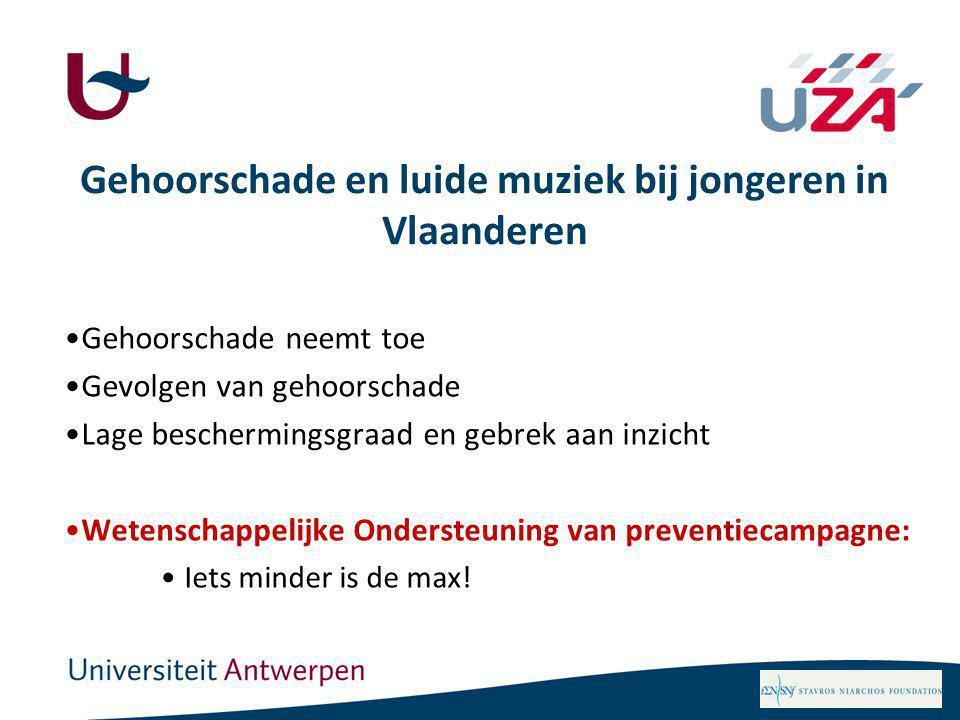 Gehoorschade en luide muziek bij jongeren in Vlaanderen Gehoorschade neemt toe Gevolgen van gehoorschade Lage beschermingsgraad en gebrek aan inzicht Wetenschappelijke Ondersteuning van preventiecampagne: Iets minder is de max!