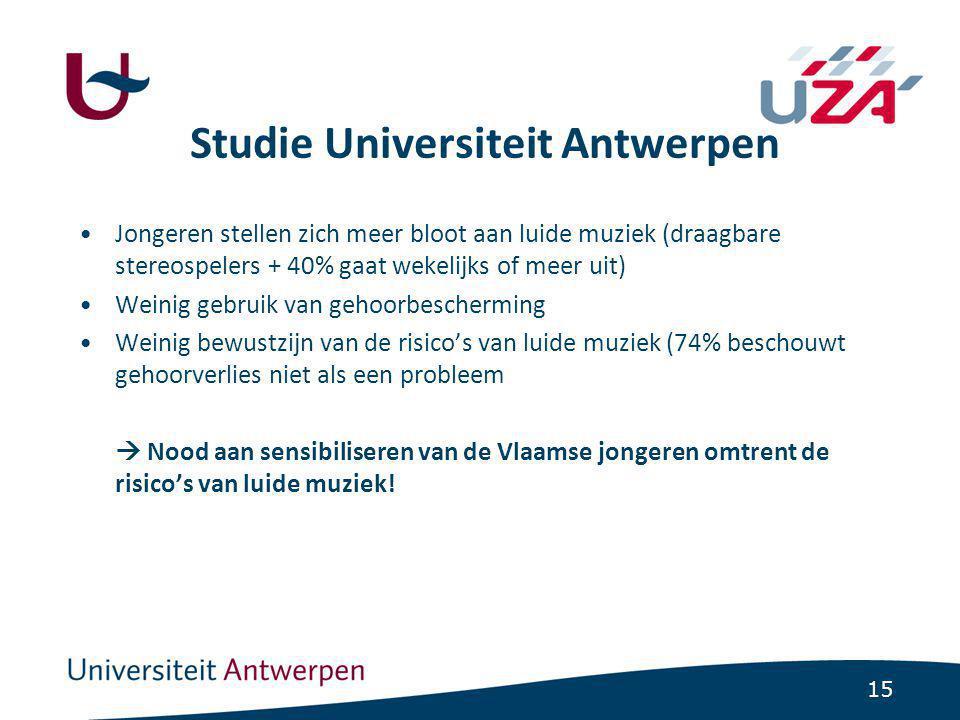 15 Studie Universiteit Antwerpen Jongeren stellen zich meer bloot aan luide muziek (draagbare stereospelers + 40% gaat wekelijks of meer uit) Weinig gebruik van gehoorbescherming Weinig bewustzijn van de risico's van luide muziek (74% beschouwt gehoorverlies niet als een probleem  Nood aan sensibiliseren van de Vlaamse jongeren omtrent de risico's van luide muziek!