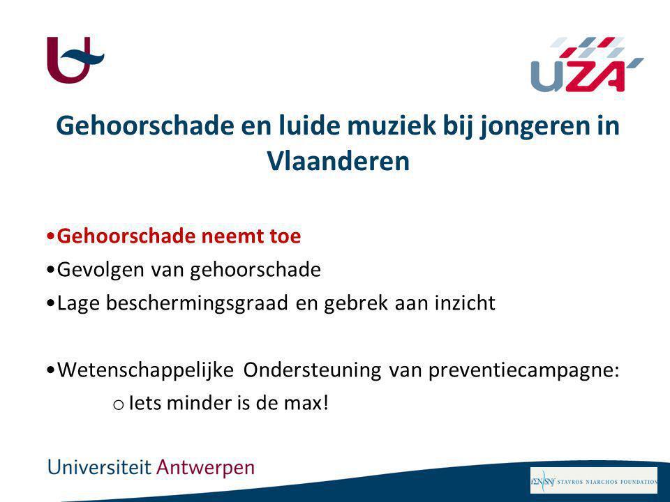 Gehoorschade en luide muziek bij jongeren in Vlaanderen Gehoorschade neemt toe Gevolgen van gehoorschade Lage beschermingsgraad en gebrek aan inzicht Wetenschappelijke Ondersteuning van preventiecampagne: o Iets minder is de max!