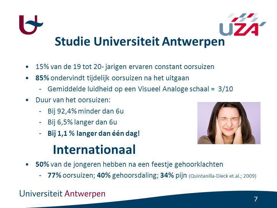 7 Studie Universiteit Antwerpen 15% van de 19 tot 20- jarigen ervaren constant oorsuizen 85% ondervindt tijdelijk oorsuizen na het uitgaan -Gemiddelde luidheid op een Visueel Analoge schaal = 3/10 Duur van het oorsuizen: -Bij 92,4% minder dan 6u -Bij 6,5% langer dan 6u -Bij 1,1 % langer dan één dag.