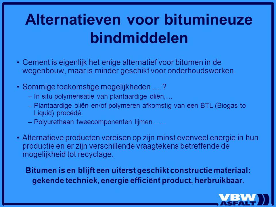 Alternatieven voor bitumineuze bindmiddelen Cement is eigenlijk het enige alternatief voor bitumen in de wegenbouw, maar is minder geschikt voor onder