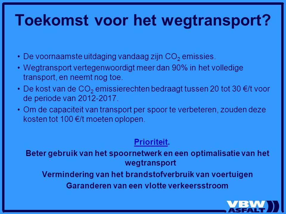 Toekomst voor het wegtransport? De voornaamste uitdaging vandaag zijn CO 2 emissies. Wegtransport vertegenwoordigt meer dan 90% in het volledige trans