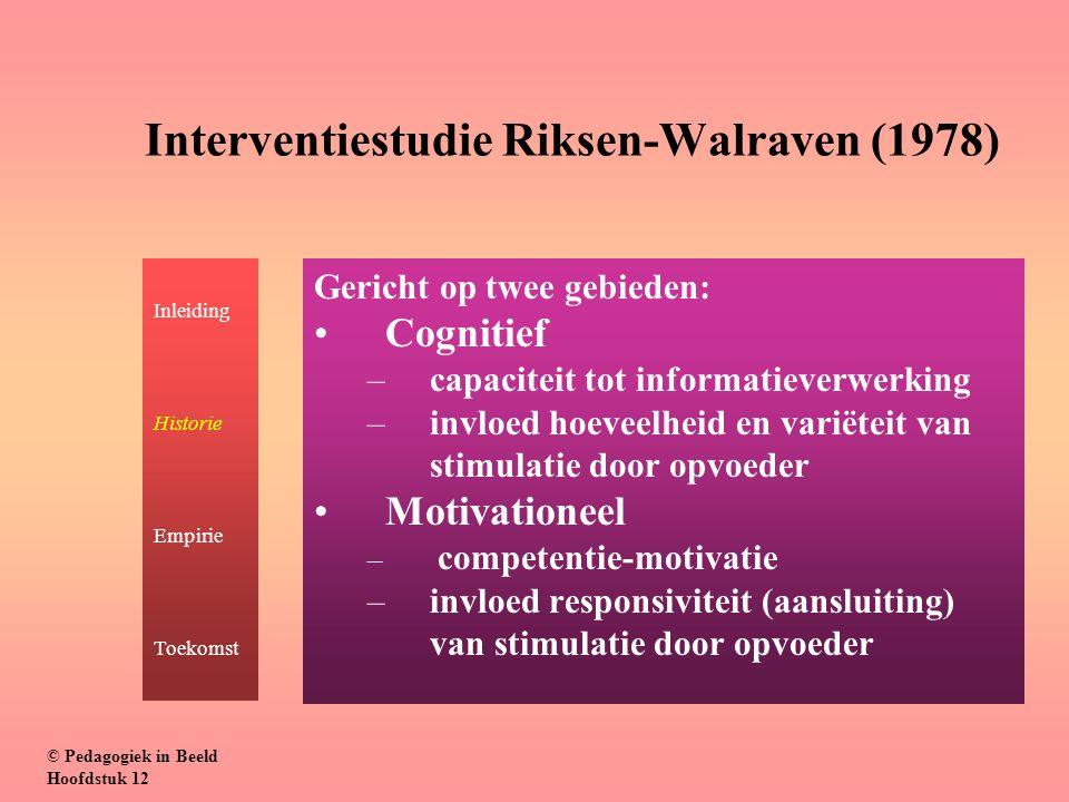 Interventiestudie Riksen-Walraven (1978) Gericht op twee gebieden: Cognitief –capaciteit tot informatieverwerking –invloed hoeveelheid en variëteit va