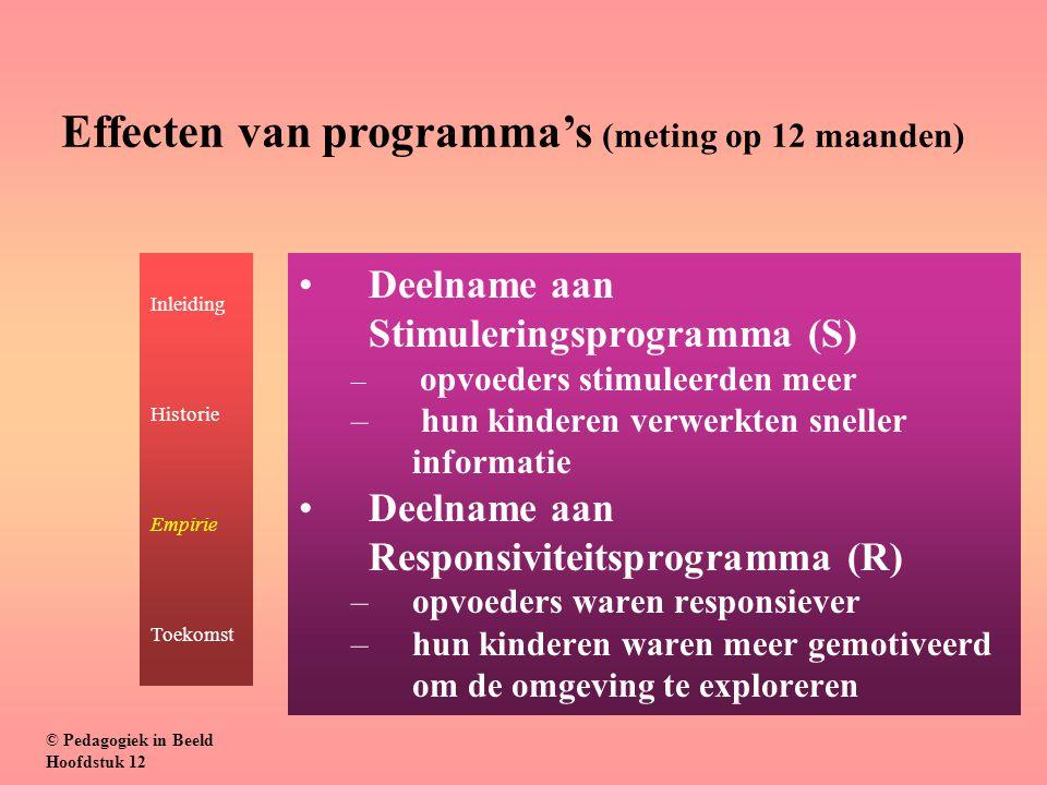 Deelname aan Stimuleringsprogramma (S) – opvoeders stimuleerden meer – hun kinderen verwerkten sneller informatie Deelname aan Responsiviteitsprogramm