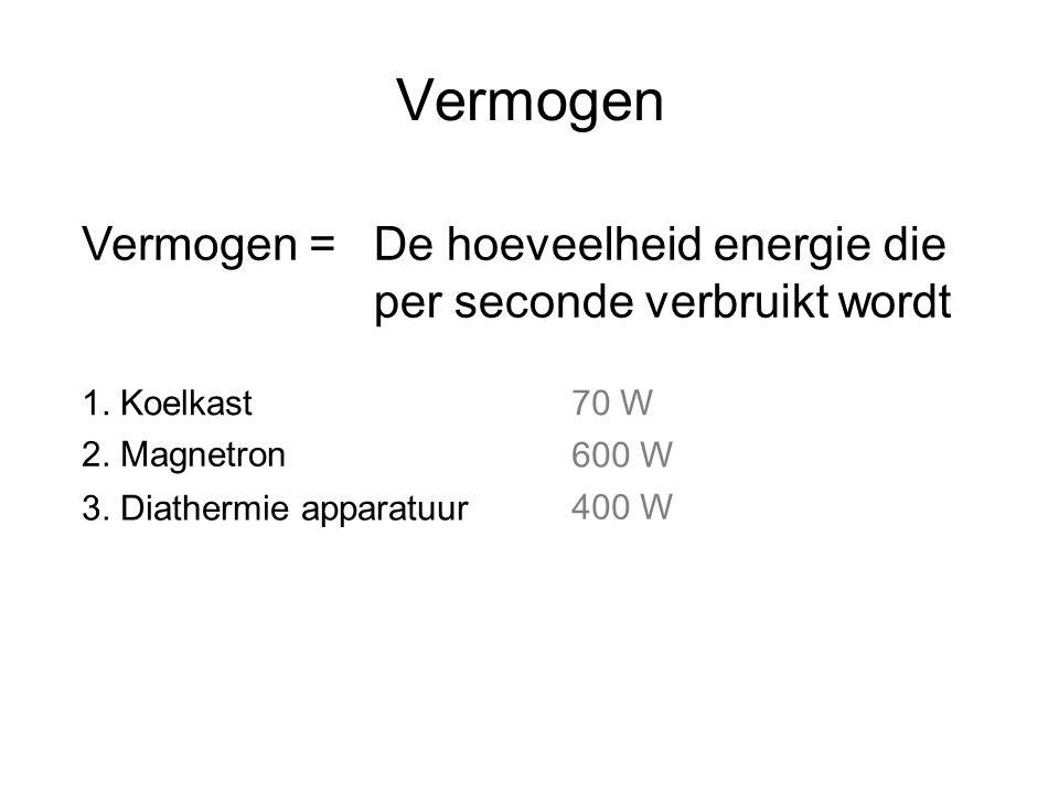 Vermogen Vermogen =De hoeveelheid energie die per seconde verbruikt wordt 1. Koelkast70 W 2. Magnetron 600 W 3. Diathermie apparatuur 400 W