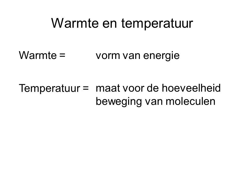 Warmte en temperatuur Warmte =vorm van energie Temperatuur = maat voor de hoeveelheid beweging van moleculen