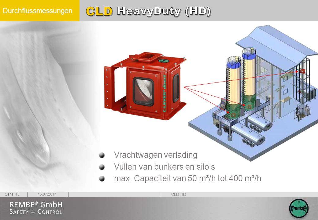 Durchflussmessungen 16.07.2014Seite 10 Vrachtwagen verlading Vullen van bunkers en silo's max. Capaciteit van 50 m³/h tot 400 m³/h CLD HD