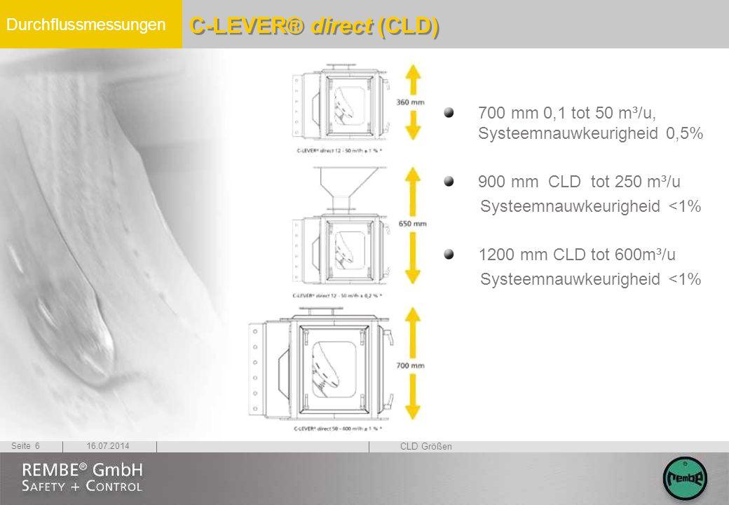 Durchflussmessungen 16.07.2014Seite 6 700 mm 0,1 tot 50 m³/u, Systeemnauwkeurigheid 0,5% 900 mm CLD tot 250 m³/u Systeemnauwkeurigheid <1% 1200 mm CLD tot 600m³/u Systeemnauwkeurigheid <1% C-LEVER® direct (CLD) CLD Größen