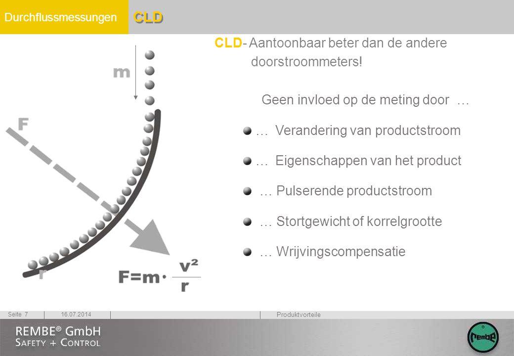 Durchflussmessungen 16.07.2014Seite 7 CLD CLD- Aantoonbaar beter dan de andere doorstroommeters! Geen invloed op de meting door … … Verandering van pr
