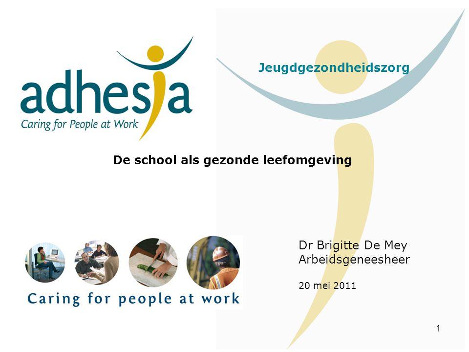 1 Jeugdgezondheidszorg De school als gezonde leefomgeving Dr Brigitte De Mey Arbeidsgeneesheer 20 mei 2011