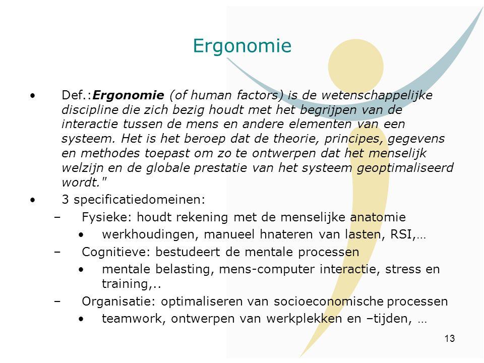 13 Ergonomie Def.:Ergonomie (of human factors) is de wetenschappelijke discipline die zich bezig houdt met het begrijpen van de interactie tussen de m