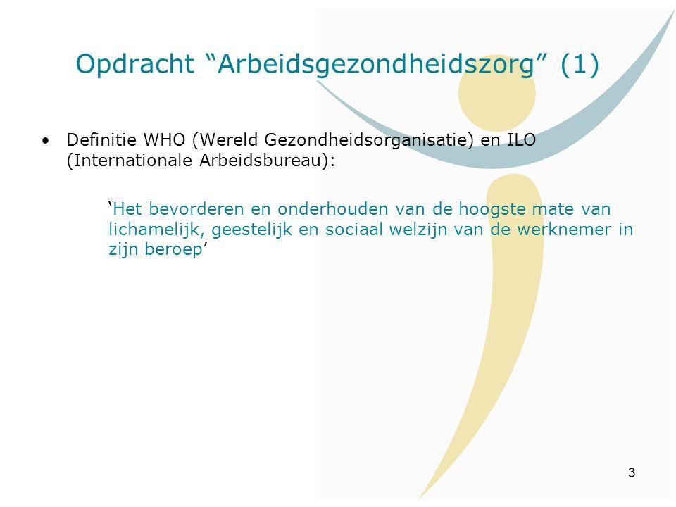 """3 Opdracht """"Arbeidsgezondheidszorg"""" (1) Definitie WHO (Wereld Gezondheidsorganisatie) en ILO (Internationale Arbeidsbureau): 'Het bevorderen en onderh"""