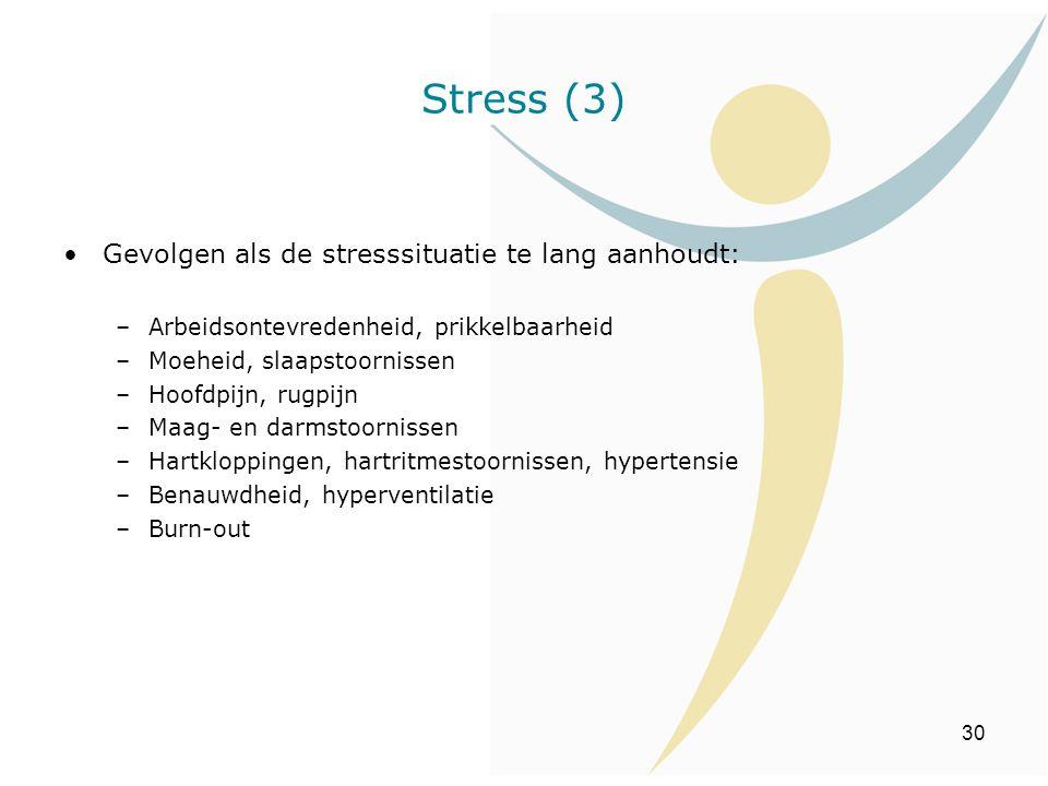 30 Gevolgen als de stresssituatie te lang aanhoudt: –Arbeidsontevredenheid, prikkelbaarheid –Moeheid, slaapstoornissen –Hoofdpijn, rugpijn –Maag- en d