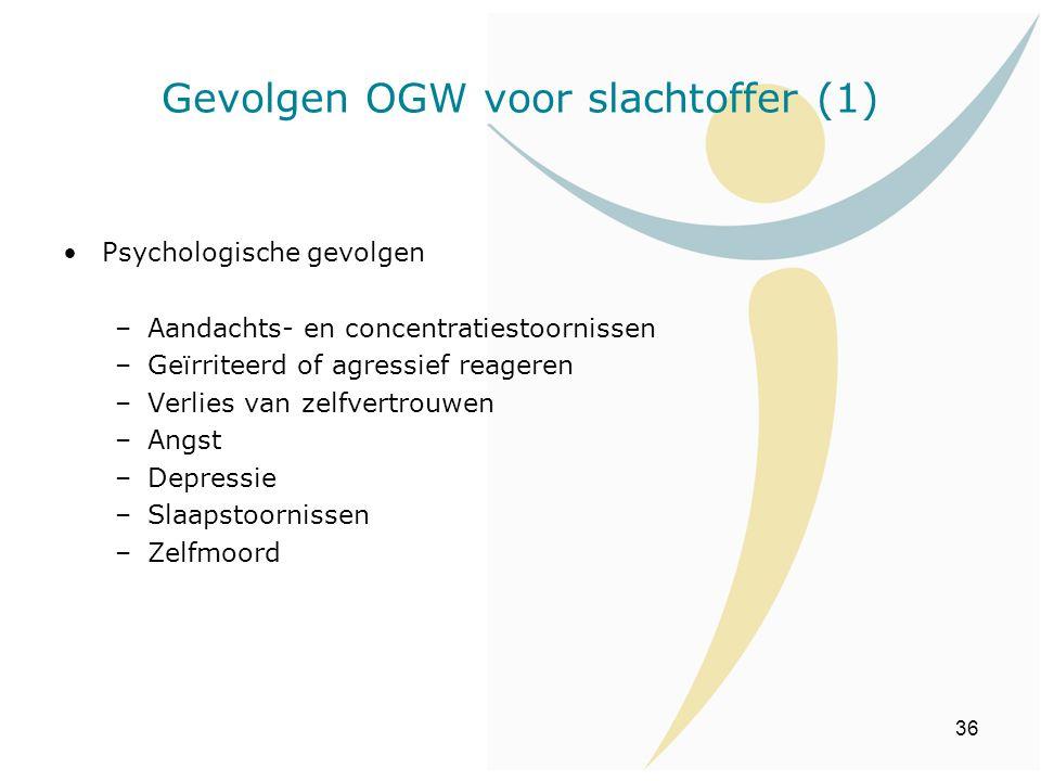 36 Psychologische gevolgen –Aandachts- en concentratiestoornissen –Geïrriteerd of agressief reageren –Verlies van zelfvertrouwen –Angst –Depressie –Sl