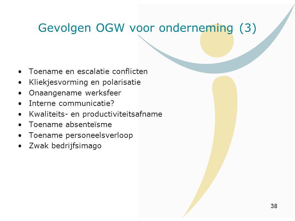 38 Toename en escalatie conflicten Kliekjesvorming en polarisatie Onaangename werksfeer Interne communicatie? Kwaliteits- en productiviteitsafname Toe