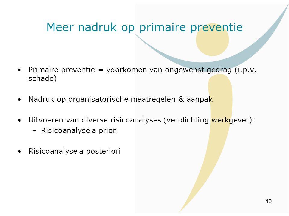 40 Primaire preventie = voorkomen van ongewenst gedrag (i.p.v. schade) Nadruk op organisatorische maatregelen & aanpak Uitvoeren van diverse risicoana