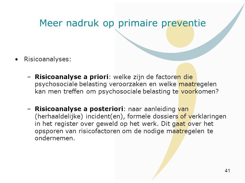 41 Risicoanalyses: –Risicoanalyse a priori: welke zijn de factoren die psychosociale belasting veroorzaken en welke maatregelen kan men treffen om psy