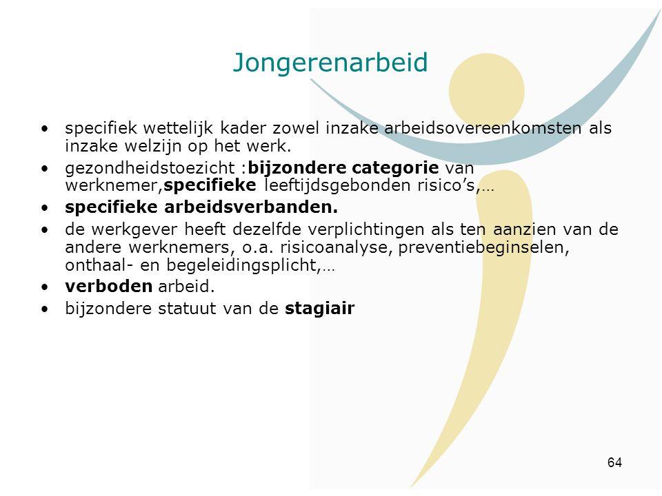 64 Jongerenarbeid specifiek wettelijk kader zowel inzake arbeidsovereenkomsten als inzake welzijn op het werk. gezondheidstoezicht :bijzondere categor