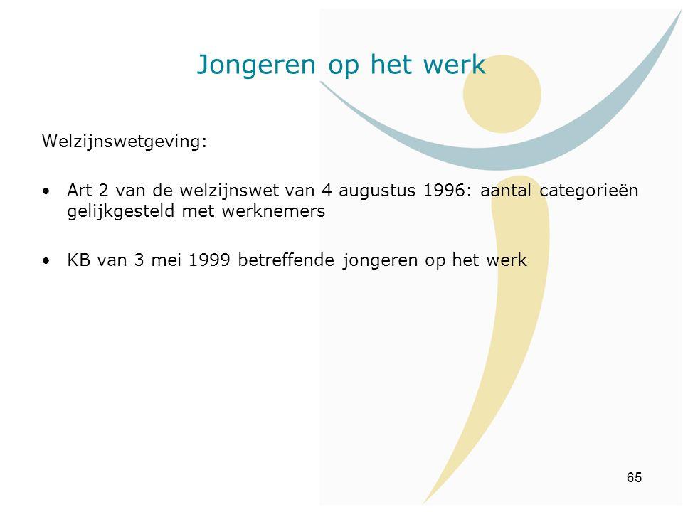 65 Welzijnswetgeving: Art 2 van de welzijnswet van 4 augustus 1996: aantal categorieën gelijkgesteld met werknemers KB van 3 mei 1999 betreffende jong