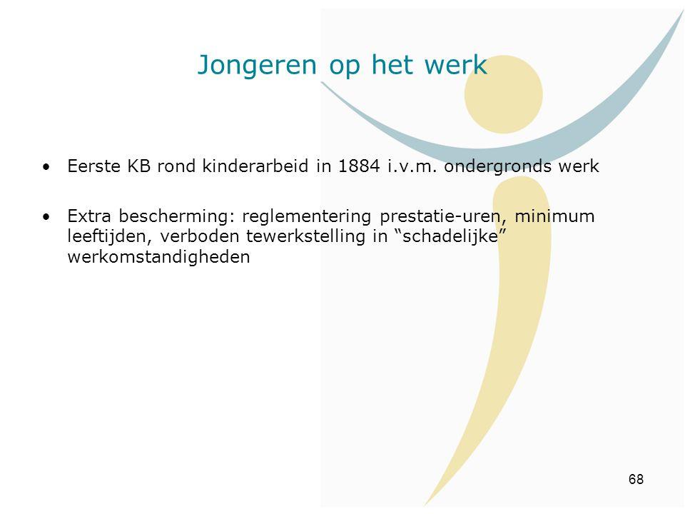 68 Jongeren op het werk Eerste KB rond kinderarbeid in 1884 i.v.m. ondergronds werk Extra bescherming: reglementering prestatie-uren, minimum leeftijd